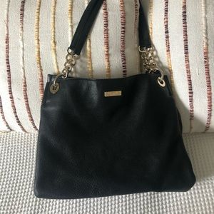 KATE SPADE BLACK GOAT LEATHER GOLD CHAIN TOTE ✨
